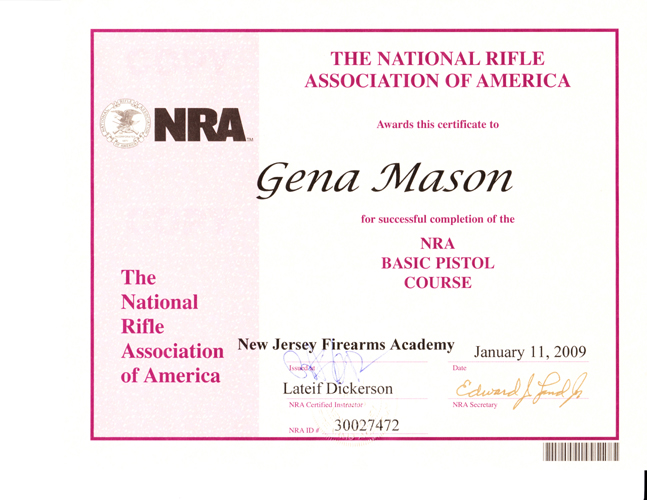 nra certificate template - firearms instructor business cards bing images
